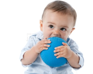 Real People: Headshot  Caucasian Toddler Boy Holding Chewing on